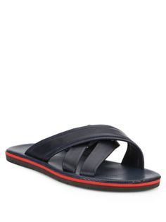 Saks Fifth Avenue COLLECTION Leather Criss-Cross Sandals ROFDctp7jv