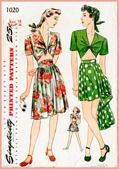 1940s 40s vintage playsuit sewing pattern crop top high waist shorts pleated skirt beach bust 36 b36 repro