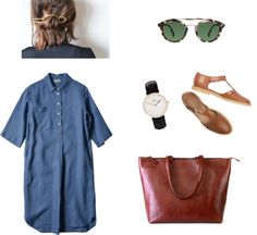 A button-down is the office staple so why not a button-down shirt dress?  Pair one with flat sandals and a sleek Daame leather laptop tote. Check out this style and other foolproof workwear on the blog.