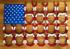 (BLA55) American Flag Welded Horseshoes Wall Art