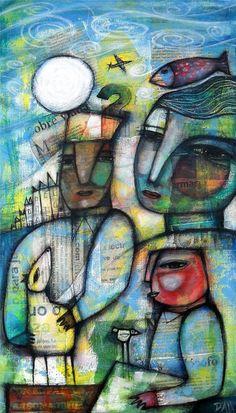 Dan Casado Outsider Folk Art Canvas The Moon Original Collage Painting | eBay