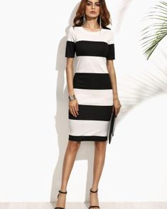 Contrast Wide Stripe Pencil Dress - www.anabellas.co #anabellas #vestido #mangacorta #cuelloredondo #rayas