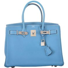 Pre-owned HERMES BIRKIN BAG 30CM BLUE JEAN GORGEOUS TOGO PHW PRE-LOVED... ($10,700) ❤ liked on Polyvore