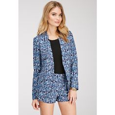 Forever 21 Women's  Abstract Print Crepe Blazer ($16) ❤ liked on Polyvore featuring outerwear, jackets, blazers, crepe blazer, blazer jacket, collarless blazer, blue blazer jacket and open front blazer