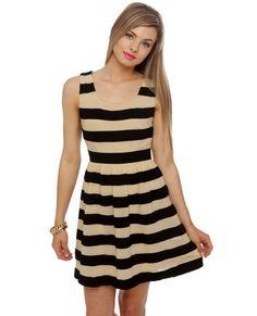 Lulu's The Bee's Knees Beige Striped Dress