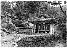 [김영택 화백의 세계건축문화재 펜화 기행] 담양 소쇄원 - 중앙일보 뉴스 Background Drawing, Ink Pen Drawings, Chinese Garden, Pen Sketch, Korean Art, Pen Art, Black White Photos, Historical Sites, Old Photos