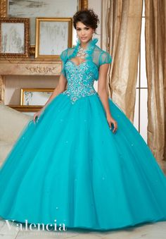 Elegant and timeless, Mori Lee Mori Lee Valencia Quinceanera Dress Style 60007 is a must-have ball gown for any girl's Sweet 15 party. Made out of tulle, this ball gown features a strapless bodice dec Quince Dresses, 15 Dresses, Ball Dresses, Turquoise Quinceanera Dresses, Pretty Quinceanera Dresses, Quinceanera Party, Kids Party Wear Dresses, Wedding Party Dresses, Wedding Veil