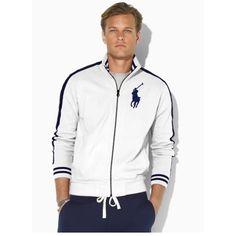 Ralph Lauren Stripes sleeves Big Pony Full-Zip (White)