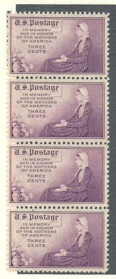 US 1934 # 737 - 3¢ Whistler's Mother strip of 4 stamps MNH
