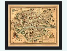 Old Map of York City History Map United Kingdom