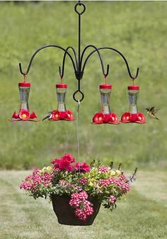 hmmm... I see a chandelier conversion ~ the hanging basket (or other large bird feeder or bird water cooler) provides stability within the design