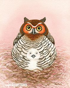 Momma and Baby Owl - 11x14 archival watercolor print by Tracy Lizotte. $34.00, via Etsy.