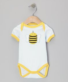 Take a look at this Light Blue Bumblebee Bodysuit by beauty & the bib on #zulily today!