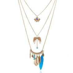 Multilayer Evil Eye Tassel Pendant Necklace Sweater Chain Natural Stone Turquoise Necklace For Women Vintage Jewelry SNE160035