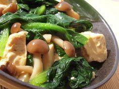 小松菜と豆腐の生姜あんかけ風