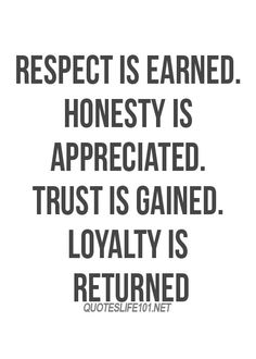 Respect is earned honesty is appreciated - Best quotes about life ...