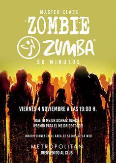 ¿Te apuntas a una Zombie Zumba de 90'? ¡Prepara tu disfraz y ven a bailar el próximo viernes,  4 de noviembre a las 19:00 h. en Metropolitan Eurobuilding!  Premio para el mejor de todos. Inscripciones en el Área de Socios de la web.
