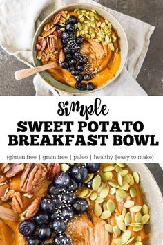 With very little effort you can fuel yourself with a bowl of nutrient-dense goodness. Sweet potatoes are a powerhouse of vitamins and minerals. And you can load it up with anything that makes you happy. Low Carb Vegan Breakfast, Healthy Breakfast Recipes, Paleo Recipes, Real Food Recipes, Healthy Breakfasts, Cooking Recipes, Sweet Potato Breakfast, Breakfast Bowls, Breakfast Potatoes