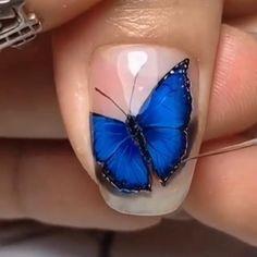Nail Art Designs Videos, Nail Art Videos, Nail Art Tutorials, Acrylic Nails Coffin Ombre, Best Acrylic Nails, Butterfly Nail Art, Simple Butterfly, Elegant Nail Art, New Nail Art