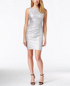 Calvin Klein Ruched Metallic Sheath Dress - Dresses - Women - Macy's