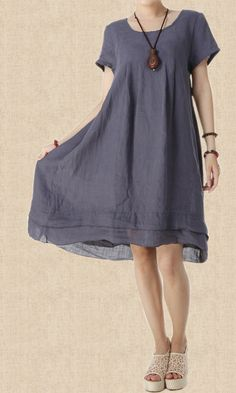 cotton Loose Fitting comfort long dress Two layers large size ...