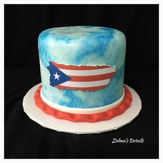 Flag Cake, Custom Cakes, Puerto Rico, Desserts, Personalized Cakes, Tailgate Desserts, Deserts, Personalised Cake Toppers, Postres