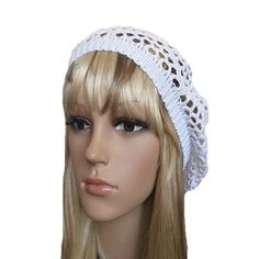 White knit lace beret made of organic cotton yarn. Lightweight women's beret is designed for hot summer days. Also this summer boho beanie will make you look trendy and stylish. Composition 100% cotto