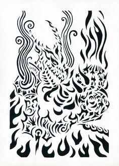 Flame dragon / Дракон Огня Прорезная графика / slotted graphics