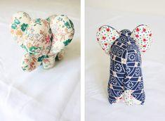 DIY Doudou Éléphant {avec patron} – Les Enchantées Stuffed Animals, Elephant Stuffed Animal, Stuffed Animal Patterns, Elephant Pattern, Baby Love, Floral Tie, Sewing Projects, Sewing Patterns, Plush