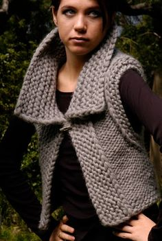 It& only recently that I started to write down any sort of directions for pieces that I& made. The whole time having the store friends an. Knitting Patterns Free, Knit Patterns, Free Knitting, Knit Vest Pattern, Crochet Woman, Knitted Poncho, Knit Jacket, Crochet Yarn, Crochet Clothes