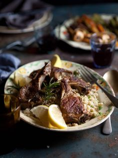 grilled lamb chops with with rosemary and garlic on lemony cauliflower 'cous cous' and roasted baby vegetables