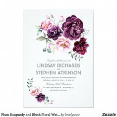Plum Purple Floral Watercolor Boho Baby Shower Card Plum purple, burgundy and blush flowers - stylish floral bouquet elegant and romantic watercolors baby shower invitation. Discount Wedding Invitations, Custom Baby Shower Invitations, Engagement Party Invitations, Watercolor Wedding Invitations, Flower Invitation, Invitation Cards, Boho Baby Shower, Girl Shower, Wedding Signs