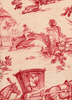 This charming scene is one of the designs by Jean Baptiste HUET who drew many scenes for the original Toile de Jouy factory.