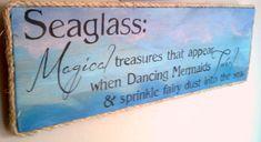 Beach Sign SEA GLASS  MERMAIDS with fairydust Girls Bedroom Decor, Under the Sea, Beach Decor, Beach Glass, Aqua Blue Sign Coastal Decor on Etsy, $42.00