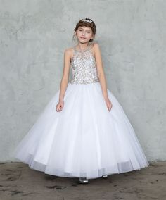 Gigis Classy Kids Flower Girls White First Communion Long Dress Off-Shoulder Ball Gown Wedding Princess Glitter
