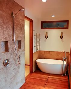 The first step in this project began when our gentleman client met and fell in love with a Japanese businesswoman. When they decided to create their master bath, they combined two adjacent baths with. Terrazzo Flooring, Wooden Bathroom, Egg Shape, Bath Remodel, Beautiful Bathrooms, Tile Design, Master Bathroom, Tub, Building A House