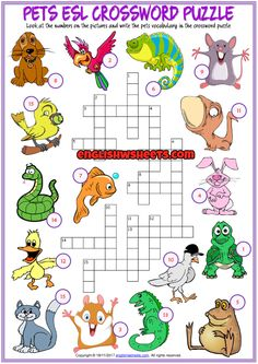 Pets ESL Printable Crossword Puzzle Worksheet for Kids First Grade Math Worksheets, Vocabulary Worksheets, English Lessons For Kids, Kids English, English Class, Animal Worksheets, Worksheets For Kids, Learning Cards, Kids Learning