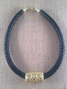 Leather Black Braided Bolo Cord Necklace with large by ANIKjewelry