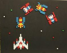 Galaga Set of 4: Spaceship plus Aliens Perler/Hama