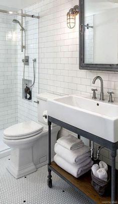 Awesome Farmhouse Bathroom Vanity Remodel Ideas – Best Home Decorating Ideas Industrial Bathroom Vanity, Farmhouse Bathroom Sink, Bathroom Vanity Decor, Bathroom Taps, Master Bathroom, Bathroom Ideas, Bathroom Remodeling, Mosaic Bathroom, Master Baths