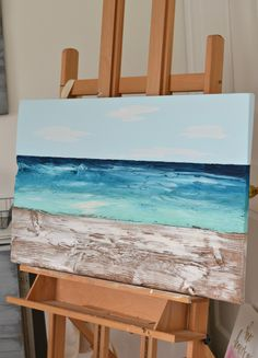 Ocean painting made from reclaimed barn wood | very unique! | by Aimee Weaver Designs