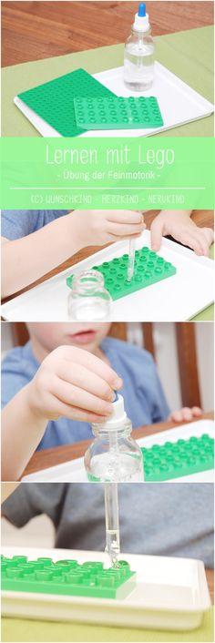 Lernen mit Lego bietet vielfältige Möglichkeiten. Kombinieren wir Legoplatten mit einer Pipette, erhalten wir eine tolle Übung für die Feinmotorik, die Fingermuskulatur und die Augen-Hand-Koordination. Lernen mit Lego - LegoIdeen - Learning with Lego - LegoLearning - Fine Motorik