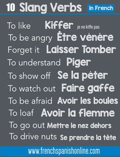 French slang verbs: www.frenchspanish… French slang verbs: www. French Verbs, French Slang, French Grammar, English Grammar, Basic French Words, Ap French, How To Speak French, Useful French Phrases, French Basics