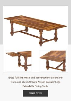 Enjoy fulfilling meals and conversations around our warm and stylish Oroville Nelson Baluster Legs Extendable Dining Table. #diningtable #interiordesign #furniture #diningroom #homedecor #table #interior #diningchair #furnituredesign #design #coffeetable #woodworking #diningroomdecor #wood #suarwood #livingroom #home #chair #decor #solidwood #dining #customfurniture #diningchairs #interiors #handcrafted #liveedge #acaciawood #liveedgetable #iron #extendablediningtable #extendabletable Hardwood Table, Solid Wood Dining Table, Extendable Dining Table, Dining Room Table, Dining Chairs, Farmhouse Style Dining Table, Traditional Dining Tables, Live Edge Table, Warm