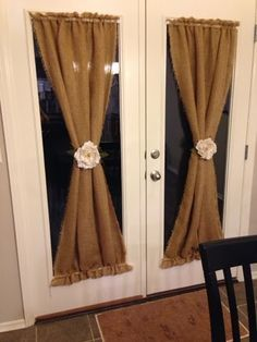DIY Burlap Curtains | best stuff....maybe not burlap, but something with a print. I have these exact doors and never know how to make curtains look nice on them. This looks super cute