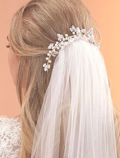 Grecian Look Bridal Bun Wrap with a Diamante & Pearl Vine Design by Arianna Tiaras
