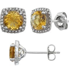 Halo style citrine and diamond earrings. Two round genuine citrine gemstones and ct tw diamond accents. Citrine Earrings, Citrine Gemstone, Diamond Earrings, Birthstones, Halo, Gemstones, Sterling Silver, Birth Stones, Gems