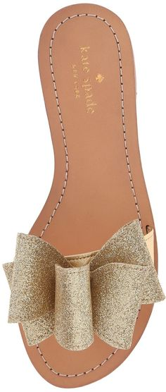 Kate Spade Glitter Bow Sandals Bow Sandals, Slipper Sandals, Cute Sandals, Flat Sandals, Leather Sandals, Shoes Heels, Shoe Boots, Summer Sandals 2016, Summer Flats