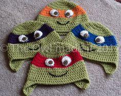 Kids winter hat Ninja Turtles hat Warm hat Children Beanie Crochet character Hat Boys Knitted Hat Unisex Dressing up Gift for kids UK seller by TheOwlmadeit on Etsy