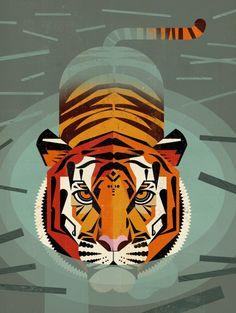 Swimming Tiger by Dieter Braun Comtemporary Fine Art Print